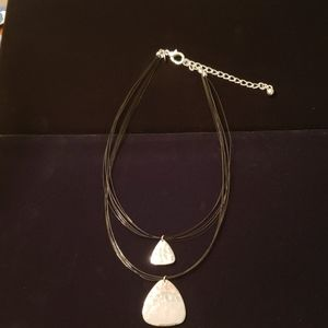 Chico's two layer hammered silver necklace